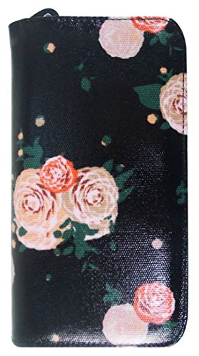 Kukubird Vari Gatti Unicorni Animali Ancora Ombrello Floreale Pattern Large Signore Borsa Frizione Portafoglio Flower Black