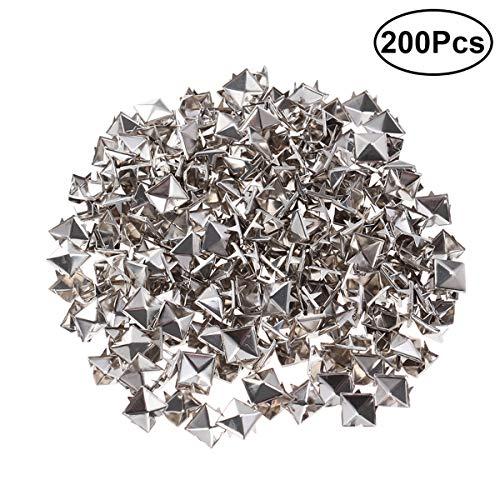 SUPVOX Schmuckperlen Zubehör Silber Metall Pyramidennieten Ziernieten Deko für DIY 200 Stück