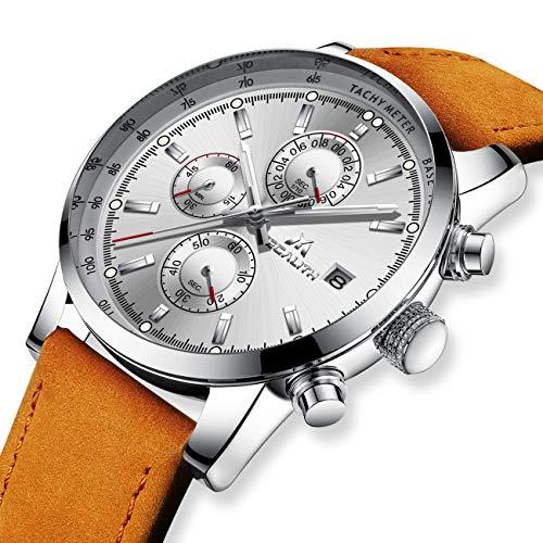 Herren Uhren Männer Wasserdicht Sport Chronograph Datum Kalender Braun Leder Armbanduhr Herren Kleid Mode Analog Quarz Schwarz Uhr