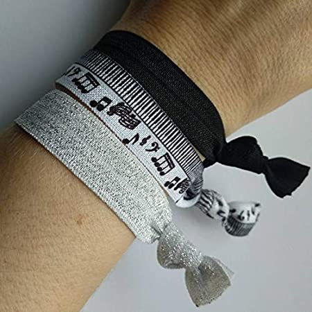 Music Note Elastic Hair ties, Pack of 3 Piano themed Hair bands that can also been worn as a Bracelet. Includes Glitter band and makes a lovely gift.