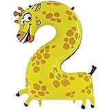 Folienballon Zahl 2 Giraffe - Riesenzahl XXL Ballon Für Luft Und Helium Zum Geburtstag, Hochzeit, Party, Dekoration