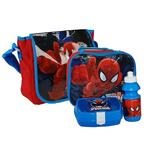 MARVEL® Ultimate Spider-Man Spiderman Official Boys Messenger bag & Lunchbag Lunch Bag Case with Sandwich Box and Drinking Bottle Set for Kids Children