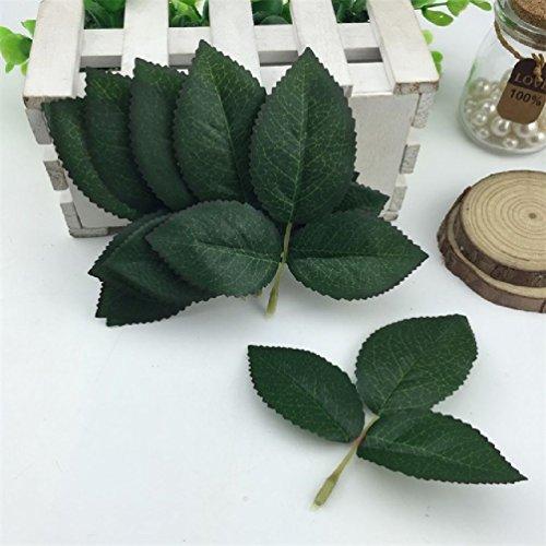 Suyunyuan Flowers 50Seide Leaf grün Blätter Künstliche Blume für Hochzeit Dekoration DIY Kranz Geschenk Scrapbooking Craft Fake Blume, Seide, dunkelgrün, Einheitsgröße