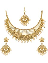 The Luxor Gold Plated Charming Bridal Necklace Jewellery Set For Women (NK-2075)