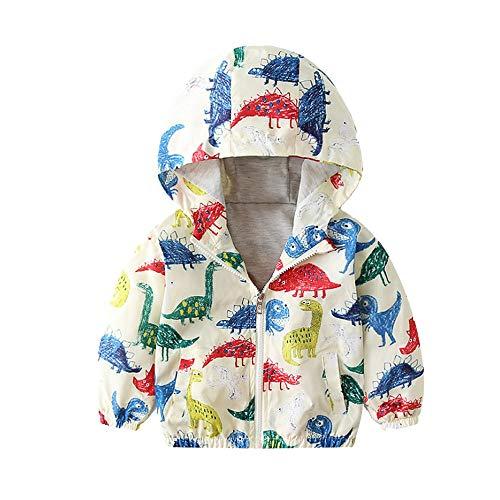 POIUDE Clearance Winter Long Sleeve Dinosaur Cartoon Print Zipper Pocket Hooded Jacket Cardigan Trench Warm Coat