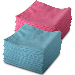 20 Pack of Genuine Exel 10 Pink & 10 Blue Microfibre Magic Cleaning Cloths. Chemical Free Cleaning. Anti Bacterial Microfiber Cloths for Amazing Smear Free Wiping.