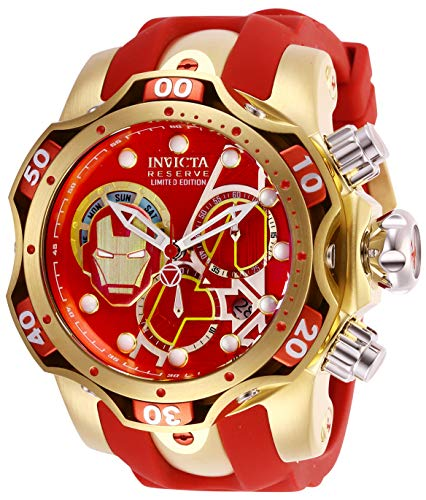 Invicta Men's Marvel Red Steel Bracelet & Case Swiss Quartz Analog Watch 27176
