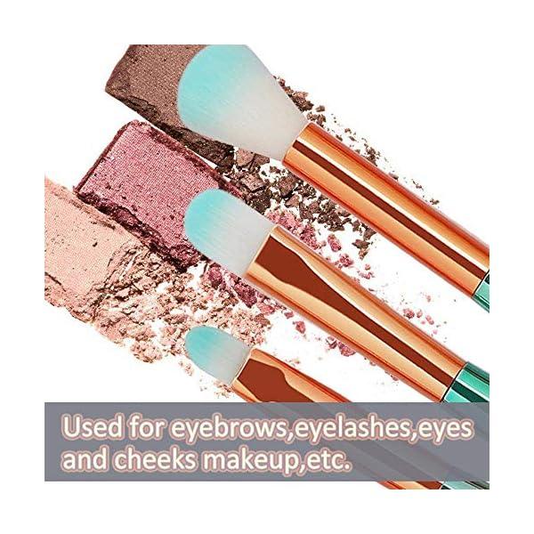 Pinceles de Maquillaje de Sirena, Set de 11 Pinceles de Maquillaje Profesional + 30 Piezas Cojín de algodón, maquillaje cepillo kit cepillo Eyebrow Eyeliner Blush Cosmetic (Multicolor)