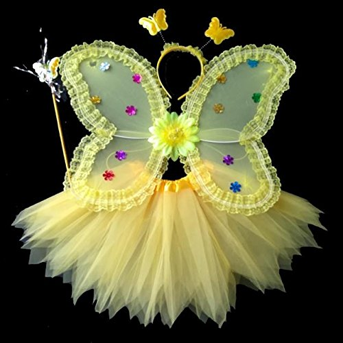 Damjic Halloween Kinder Schmetterlingsflügel Prinzessin Kostüm Mädchen. (Mädchen Creepy Clown Kostüm)