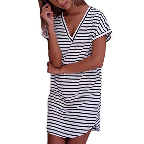 feiXIANG Damen Mode Kleid Stripe Short Ärmel Shirtkleid gestreiften T-Shirt Kleid V-Ausschnitt lockeres Kleid Freizeit Hemdkleid Ladies Casual Mini kleider (M, Weiß) (Detail T-shirt Kleid)