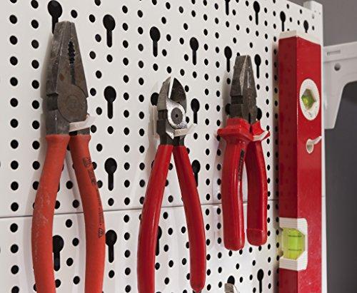 Element System Werkzeugwand aus Metall plus 18 teiliges Werkzeughalterset inklusive Schrauben und Dübel, Lochwand zur Werkzeugaufbewahrung weiß - 2