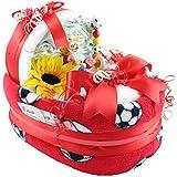 Windelbettchen 'Fussball' Windeltorte Geschenk zur Geburt oder Taufe