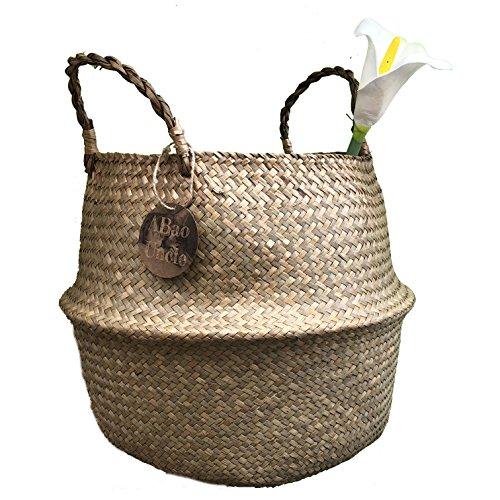 ABAO UNCLE natürlichem Seegras Körbe-bestchanceus Woven Bauch Korb mit Griff für Aufbewahrung Wäsche, Picknick, Blumentopf, und Beach Bag 30x35cm -