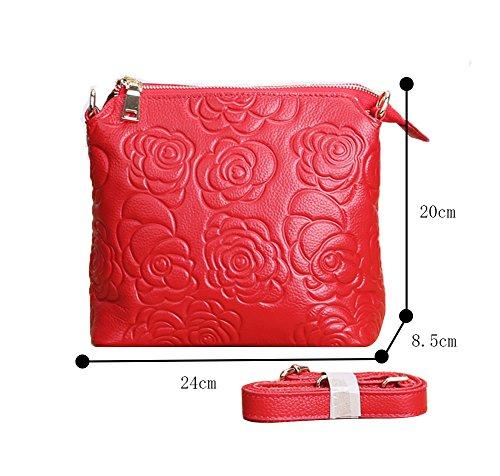 Genda 2Archer Floreale Cross Body Bag Ogni giorno Piccolo Borsa da viaggio (Nero) rosso