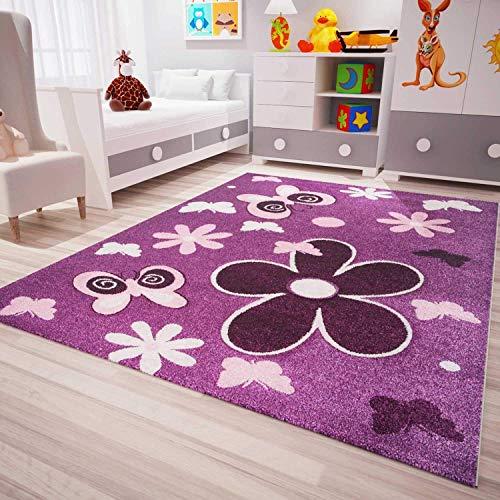VIMODA Kinder Teppich Modern Blumen Sterne Farbe Lila Pflegeleicht 120x170 cm