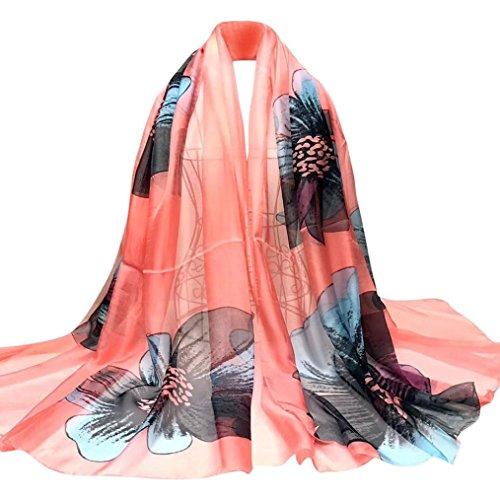 OverDose Damen Schal, Fashion Lady Tücher Blumen Lange Wrap Frauen Schal Chiffon Schal Seide Schals - Wollschal Mit Taschen