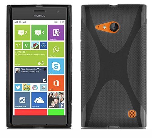 Preisvergleich Produktbild Cadorabo DE-102431 Nokia Lumia 730 Handyhülle aus flexiblem TPU Silikon im X-Line Design Schwarz