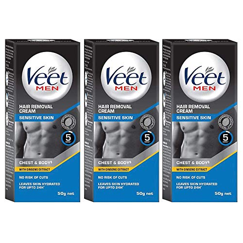 Buy Veet Hair Removal Cream for Men, Sensitive Skin, 50g Each (Pack of 3) online in India at discounted price