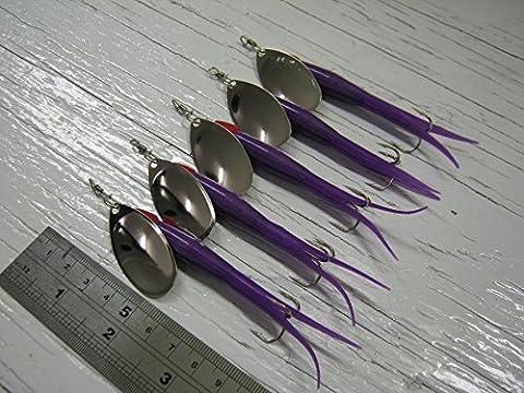 D93Flying C 20g # 4style français Nickel Lame Spinner Lure, Lot de 5de l'article Corps Violet Perle Rouge