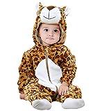 GWELL Kinder Baby Tier Kostüme Tieroutfit Cosplay Jumpsuit Schlafanzug Mädchen Jungen Winter Nachtwäsche Strampler Leopard Körpergröße 69-78cm