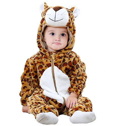 GWELL Kinder Baby Tier Kostüme Tieroutfit Cosplay Jumpsuit Schlafanzug Mädchen Jungen Winter Nachtwäsche Strampler Leopard Körpergröße ()