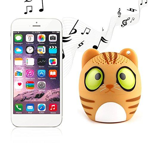 Rubility® Mini Bluetooth Speaker Animal Lautsprecher Beweglicher Wireless Lautsprecher Minitier Nette drahtlose Bluetooth Lautsprecher mit Ein-Schlüssel Sefie Funktion und eingebautem Mikrofon für Smartphone/ Iphone/ iPad/ Samsung/ Xiaomi/ Huawei/ HTC/ LG und andere Bluetooth Vorrichtungen (Gelb Katze)