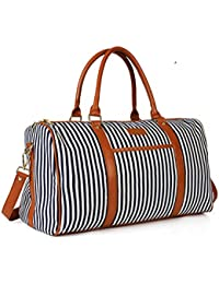Rsero Women Weekend Bag, Large Canvas Travel Duffel Tote Holdall For Overnight Weekender Bag With Pu Leather Handle...