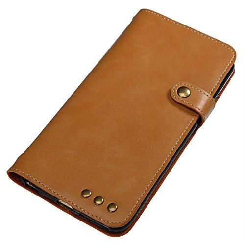 GR iPhone 6 Plus & 6s Plus Retro Style Crazy Pferd Texture Case PU Leder Flip Stand Case mit Geldbörse Tasche & Magnetverschluss & Lanyard ( Color : Brown ) Khaki