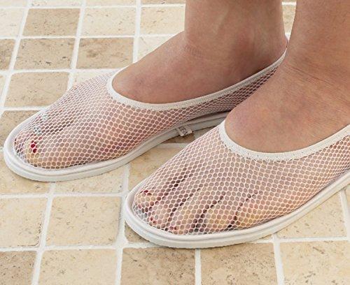 mysmartbuy Unisex Noppen Sicherheit Dusche Badewanne Pool Mesh Top Schaum Sohle Schuhe Hausschuhe, Schaumstoff, weiß, Large