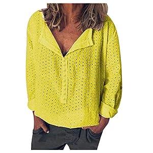 ❤ Inawayls❤ Damen Blusen Elegante Oberteile V-Ausschnitt Tops Casual Hemd Langarm Shirt Locker Damen Oberteile