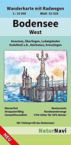 Preisvergleich Produktbild Bodensee West: Wanderkarte mit Radwegen, Blatt 51-529, 1 : 25 000, Konstanz, Überlingen, Ludwigshafen, Radolfzell a.B., Reichenau, Kreuzlingen (NaturNavi Wanderkarte mit Radwegen 1:25 000)