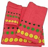 Confort Home M.T (Rojo BOLAS) Juego de toallas de baño 3 piezas (1...