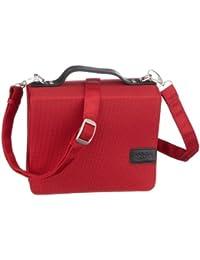 SchoenfelderSkin, Buchhüllen-Tasche mit Buchstuetze und Tragegurt in Material Nylon/Leder, Rot