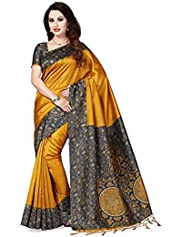 Ishin Art Silk Mustard Yellow Printed Women's Saree/Sari With Tassels