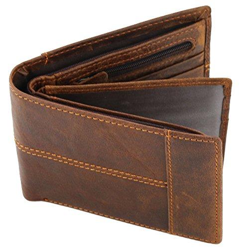 Reise-geld-clip (Stepack Marke Leder Geldbörse für Männer mit Münze Tasche Bifold Reise Geld Clip, Geschenk-Wrap für Männer(Braun))