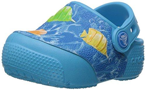 Crocs fun lab light fish clg k, sabot unisex – bambini, (multi/electric blue), 25-26 eu