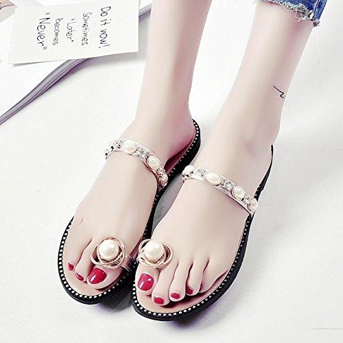 RUGAI-UE Toe pantofole di usura piane di slittamento Pearl Beach Estate Calzature Calzature Donna Golden