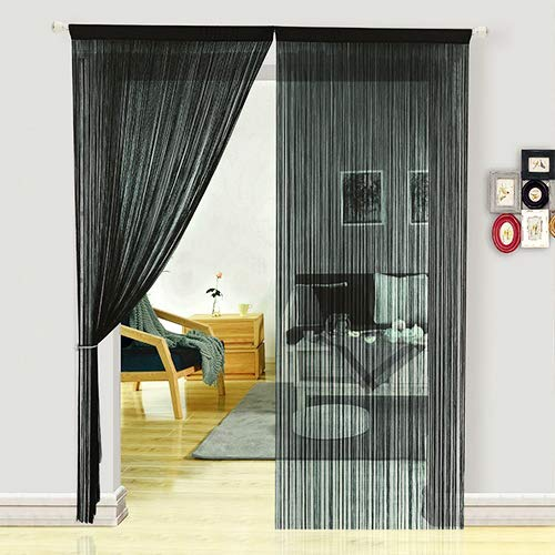fadenvorhang schwarz HSYLYM Fadenvorhang Schlafzimmertür, als Insektenvorhang Oder Raumteiler verwendbar, Polyester, Schwarz, 90x200cm