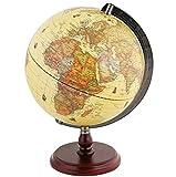 Exerz 25CM Antiker Globus mit Holzfuß - für Kinder Büro Deko Inneneinrichtung - Englischer Sprache - Durchmesser 25 cm