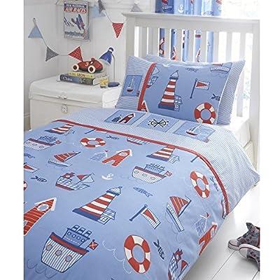 Boat Yard Ship Lighthouse Embroidered Junior Toddler Bed Duvet Cover Quilt Bedding Set
