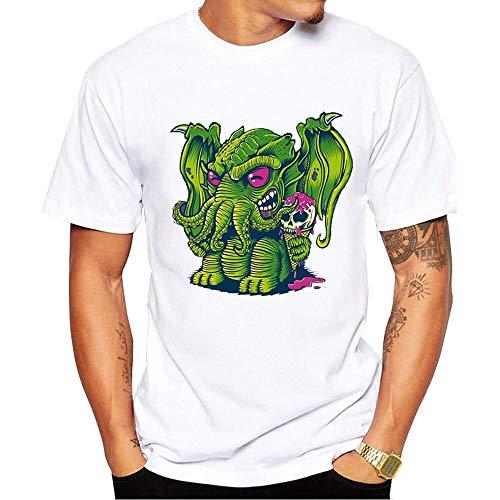 Guomao Camiseta For Hombre Camiseta con Estampado De Moda Camiseta De Algodón De Dibujos Animados Creativos con Parodia De Elefante Extraño (Color : White, Size : S)
