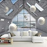 Yisj Papel Pintado Fondo de pantalla Foto 3D Espacio abstracto Círculo Fondo de bola Mural Pintura de pared Sala de estar Sofá TV Telón de fondo,350x245cm(WxH)