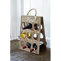 Rustic Rattan Vino Bottle Board/Rattan Weinregal 55x35cm für 9 Flaschen