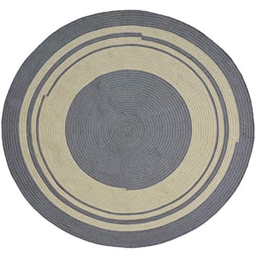 AMON LL Handgewebter runder Teppich aus Jute, zweifarbiger Naturjuteteppich Handgefertigter Teppich für das Wohnzimmer im Kinderzimmer,Grau,100 * 100cm -