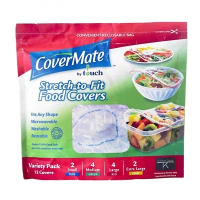 Covermate Assorted Elasticated Food Covers, S M L and XL - Pack of 12