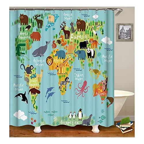 Adisaer Tela Resistente Cortina de Ducha Animales Mapa del Mundo 150X200 Impermeable con Ganchos Decoración de baño