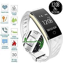 ROGUCI 0.96 pulgadas OLED Bluetooth Traker inteligente, IP67 impermeable pulsera pulsera Wristband, Actividad de Fitness Brazalete de seguimiento inteligente con monitor de ritmo cardíaco, modo de movimiento múltiple Bicicleta-Equitación , compatible con teléfonos inteligentes Android IOS iphones 7.0 BT 4.0,Blanco/Negro