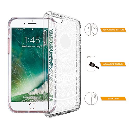 iPhone 7 Hülle, MOSNOVO Blumen Weiß Henna Klar Entwurf Drucken TPU Bumper mit Hart Plastik transparent Handyhülle Schutzhülle für Apple iPhone 7 (4,7 Zoll), iPhone 7 Case, iPhone 7 Cover Mandala Lace