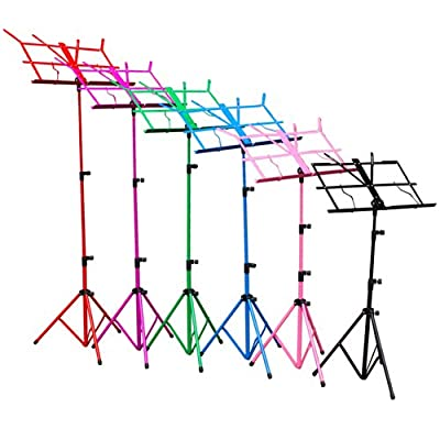 H&S® Colourful Metal Folding Sheet Music Stand Holder Tripod Base Foldable + Carry Case