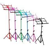 H&S® Colourful Metal Folding Sheet Music Stand Holder Tripod Base Foldable + Carry Case (Blue)